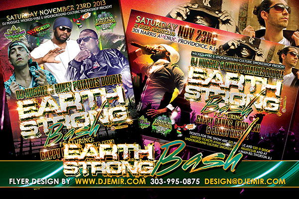 Earth Strong Bash Birthday Party Flyer Design