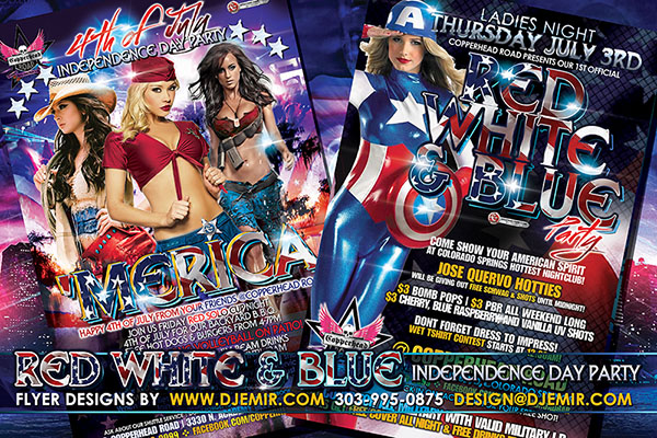 Red White And Blue 4th Of July Independence Day Party Flyer Design Colorado Springs