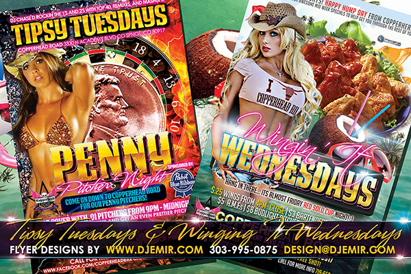 Tipsy Tuesdays And Winging It Wednesdays Flyer Designs